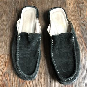 COLE HAAN Resort Black Suede Mules Shoes Flats ~ 7